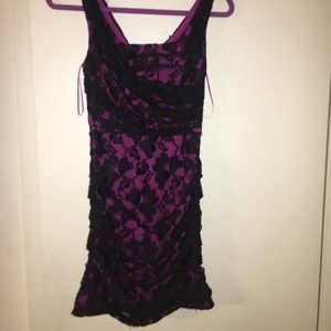 Express pink w black lace overlay cocktail dress